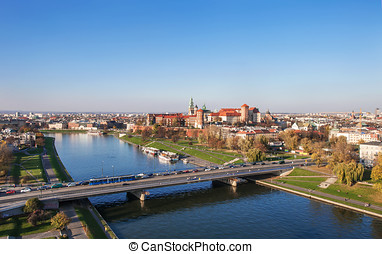 Poland: Krakow panorama with Wawel Castle in autumn