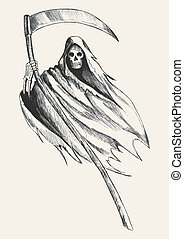 Grim Reaper - Sketch illustration of grim reaper