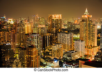 Bangkok skyline by night - View of Bangkok skyline in the...