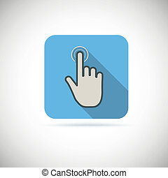 Flat hand icon pointer, touch