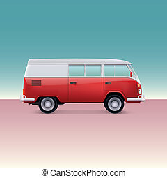 Classic camper van, side view. Vintage vector illustration