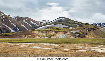 Landmannalaugar unbelievable landscape with tourists and...