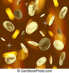 Money rain - Raster version vector image of the shining gold...