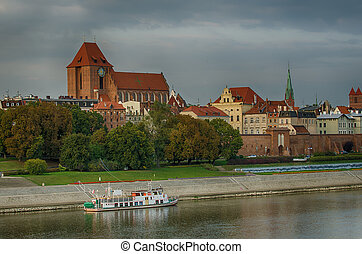 Old town of Torun Poland in the sunset The view from Vistula...