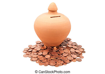 piggy banks with coins on a white backgroundon a white...