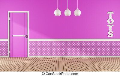 Pink playroom with door - Pink playroom with closed door and...