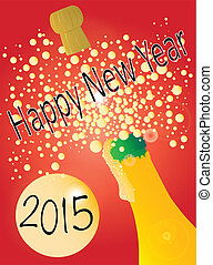 New Years Bottle 2015 - A New Year champagne bottle being...