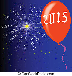 Happy New Year 2015 - A flyaway red balloon with a skyrocket...