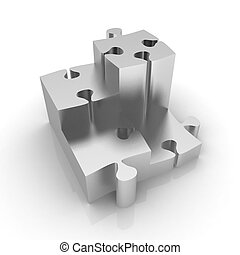 Concept of growth of metall puzzles on a white background