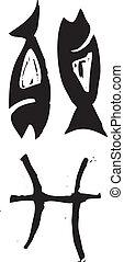 Primitive Zodiac Sign- Pisces