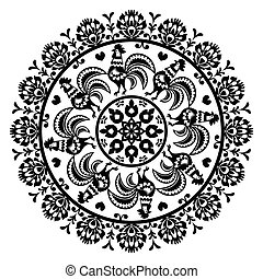 Monochrome Polish folk art pattern - Decorative floral...