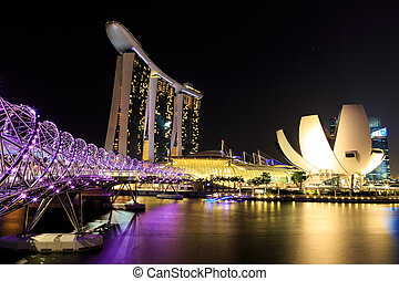 Singapore marina bay night - Singapore marina bay finacial...