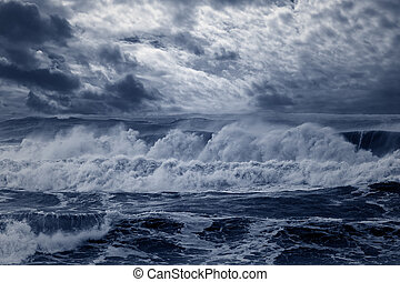 Stormy sea - Storm in the portuguese coast. Enhanced sky....