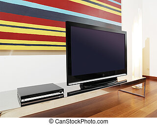 LCD TV - classic brown wooden TV cabinet with a large LCD TV
