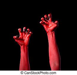 vermelho, diabo, mãos, pretas, pregos, real, body-art