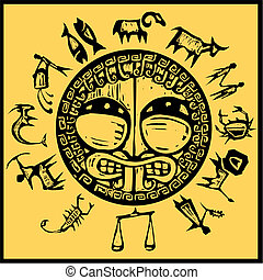 Western Primitive Zodiac 1 - Primitive western zodiac around...