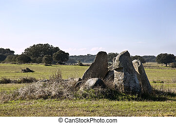 Dolmen of Chamine near Evora, Alentejo, Portugal