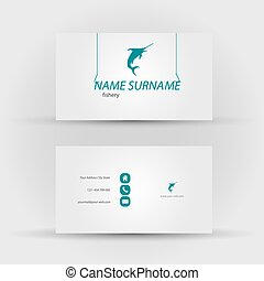 business card, fishery - Set of modern vector business card...