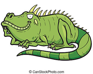 Iguana - Vector illustrations of Cartoon green iguana