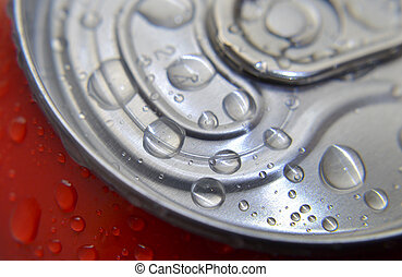 Cold drink in can with water drops