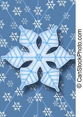 Snowflake Background - A Large Snowflake on a Blue...