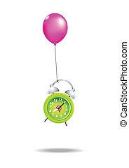 38Fly alarm clock - Green alarm clock is flying with balloon...