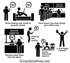 Internet Booking Online Cliparts - A set of human pictogram...