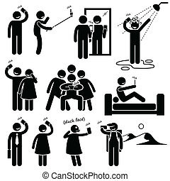 Selfie Cliparts Icons - A set of human pictogram...