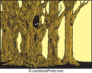 Spooky Trees - Grove of spooky trees in woodcut style with...