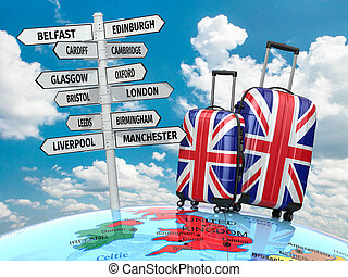 Travel concept. Suitcases and signpost what to visit in UK....