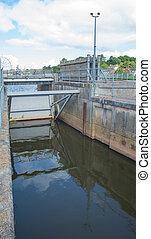 Flood Control Gate - A flood control gate holds back higher...