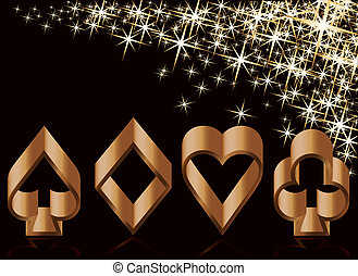 Golden casino card with poker elements, vector