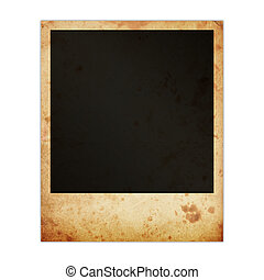Old dirty photo frame isolated on white background