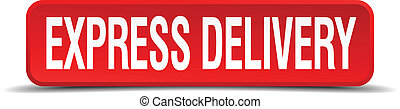 express delivery red 3d square button isolated on white background