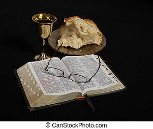 Communion - Bread, wine, and the Bible; the elements of...