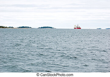 lake Huron - vessel on lake Huron in cloudy day, Ontario