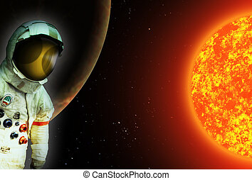 astronaut space traveller in suit with helmet