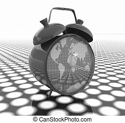 3d illustration of glossy clock of world map Time concept