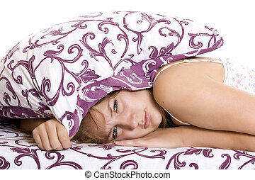 Woman trying to sleep - Woman ith her head under her pillow...