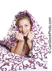 Woman trying to sleep - The woman closed the blanket trying...