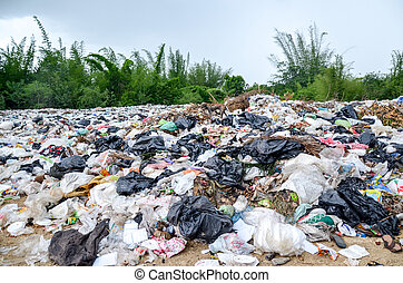 Garbage dump site on land