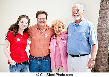 Election Day - Family Votes - Family wearing their I Voted...