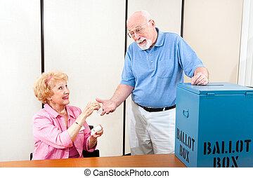 Sticker for Senior Voter - Senior poll worker giving an I...