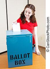 votación, para, primero, tiempo