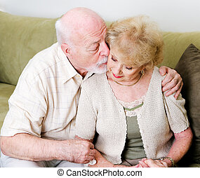 Affectionate Husband Consoling Wife - Elderly husband...
