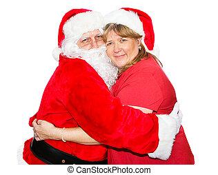 Mrs Claus Hugs Santa