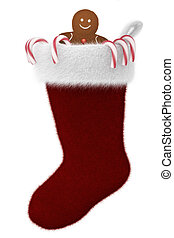 Festive Stocking Filled with Candycanes and Gingerbread Man...