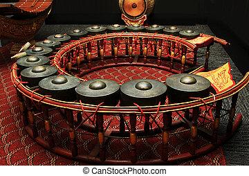 Tailandês, musical, instrumento, Gongo, instrumento, ritmo