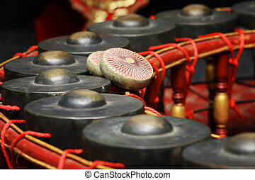 Tailandês, musical, instrumento, Gongo, instrumento,...