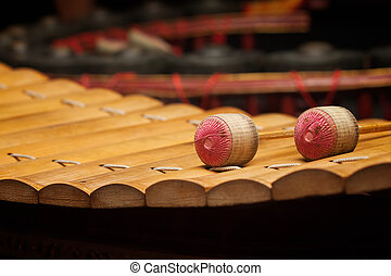Wooden soprano xylophone, the Thai music instrument select...